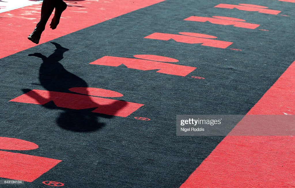 An athlete runs through the first transition during Ironman Austria on June 26, 2016 in Klagenfurt, Austria.