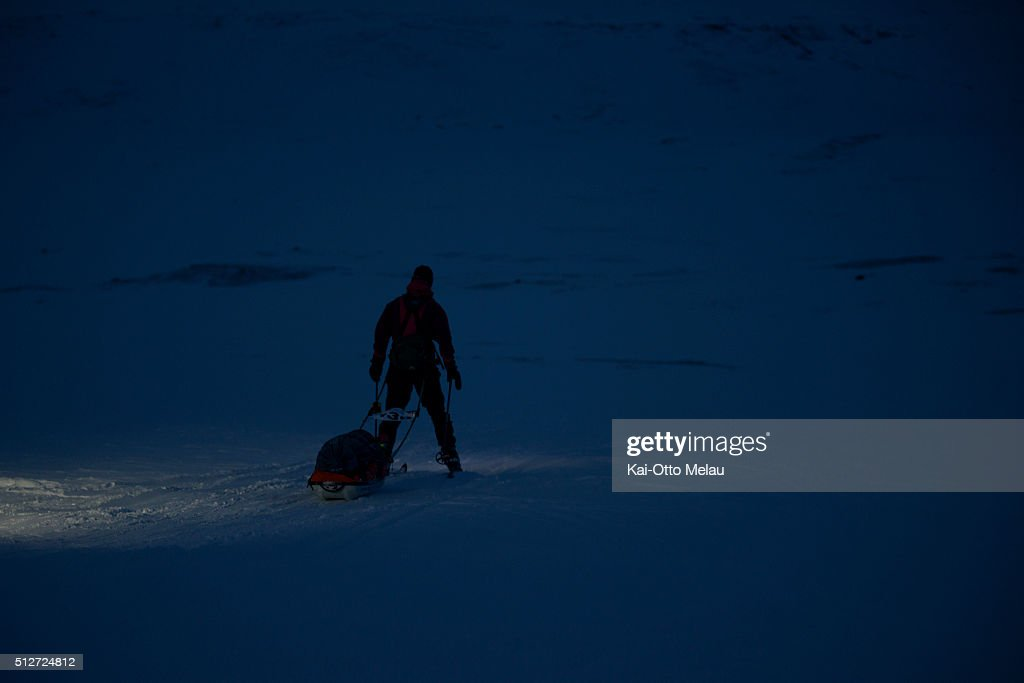 An athlete skiing in the dark during Expedition Amundsen on February 27, 2016 in Eidfjord, Norway. Expedition Amundsen is called the world`s hardest skirace. 40km across the Hardangervidda, 40kg in the sled and 100km. The race follows the path of the explorer Roald Amundsen.