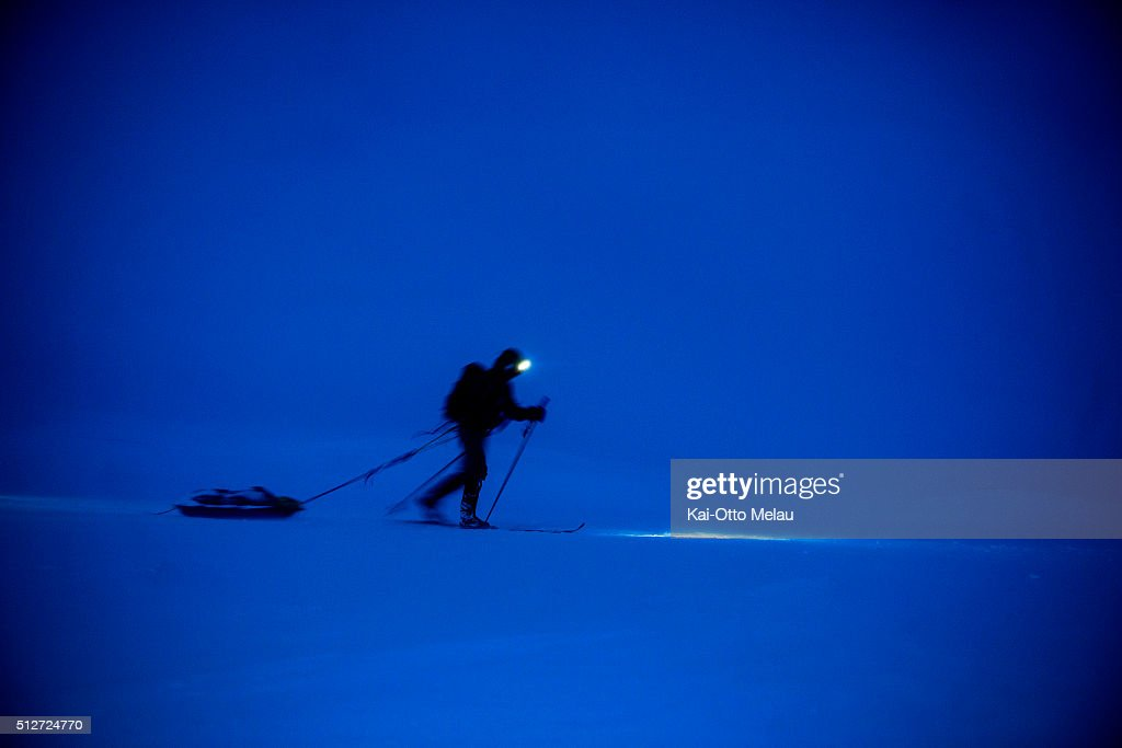 An athlete skiing trough the night during Expedition Amundsen on February 27, 2016 in Eidfjord, Norway. Expedition Amundsen is called the world`s hardest skirace. 40km across the Hardangervidda, 40kg in the sled and 100km. The race follows the path of the explorer Roald Amundsen.