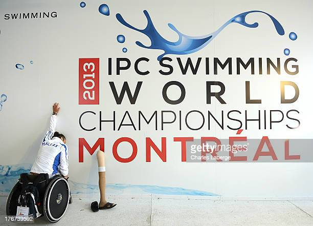 An athlete stretches during day seven of the IPC Swimming World Championship at Parc Jean Drapeau on August 18 2013 in Montreal Canada