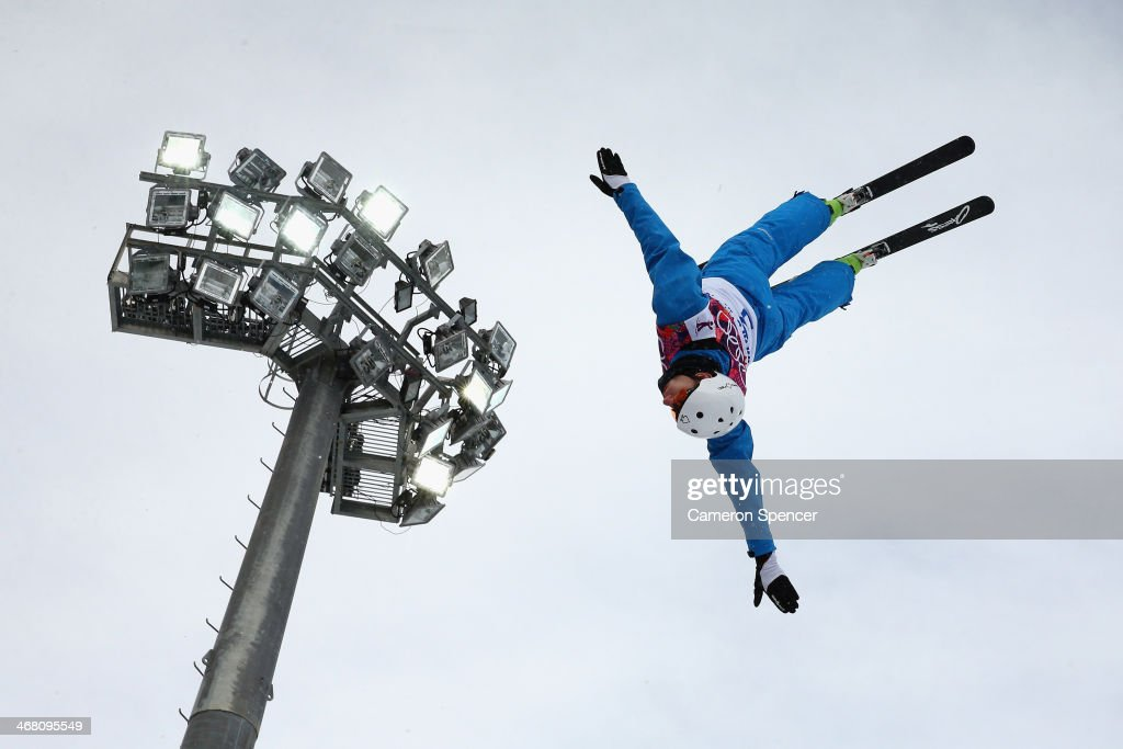 An athlete trains during Aerials practice during day two of the Sochi 2014 Winter Olympics at Rosa Khutor Extreme Park on February 9, 2014 in Sochi, Russia.
