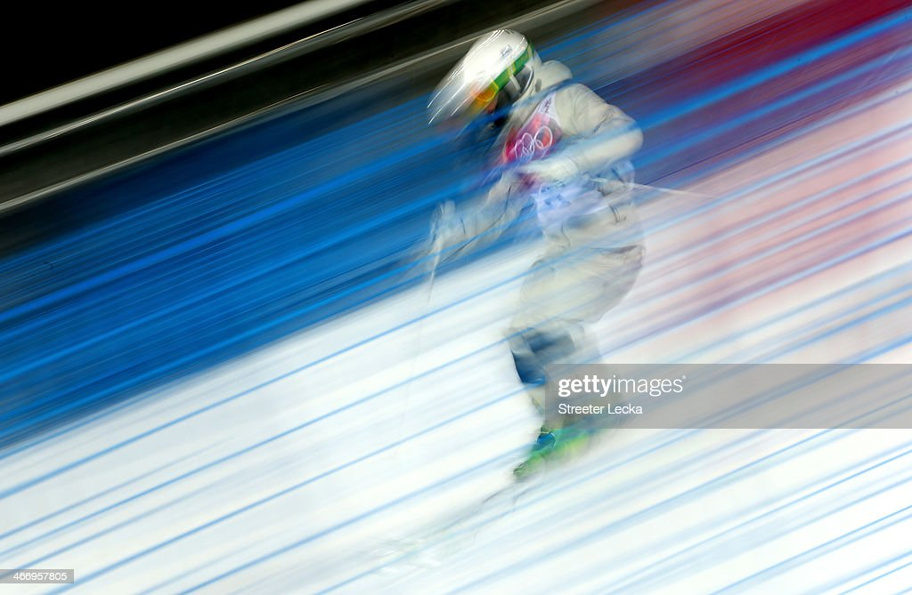 An athlete trains during moguls practice at the Extreme Park at Rosa Khutor Mountain ahead of the Sochi 2014 Winter Olympics on February 5, 2014 in Sochi, Russia.