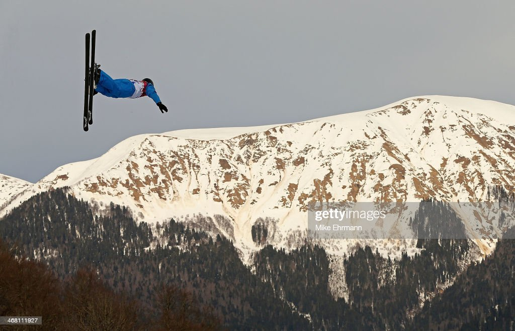 An athlete trains for the Ski Freestyle Aerials competition at the Extreme Park at Rosa Khutor Mountain on February 9, 2014 in Sochi, Russia.