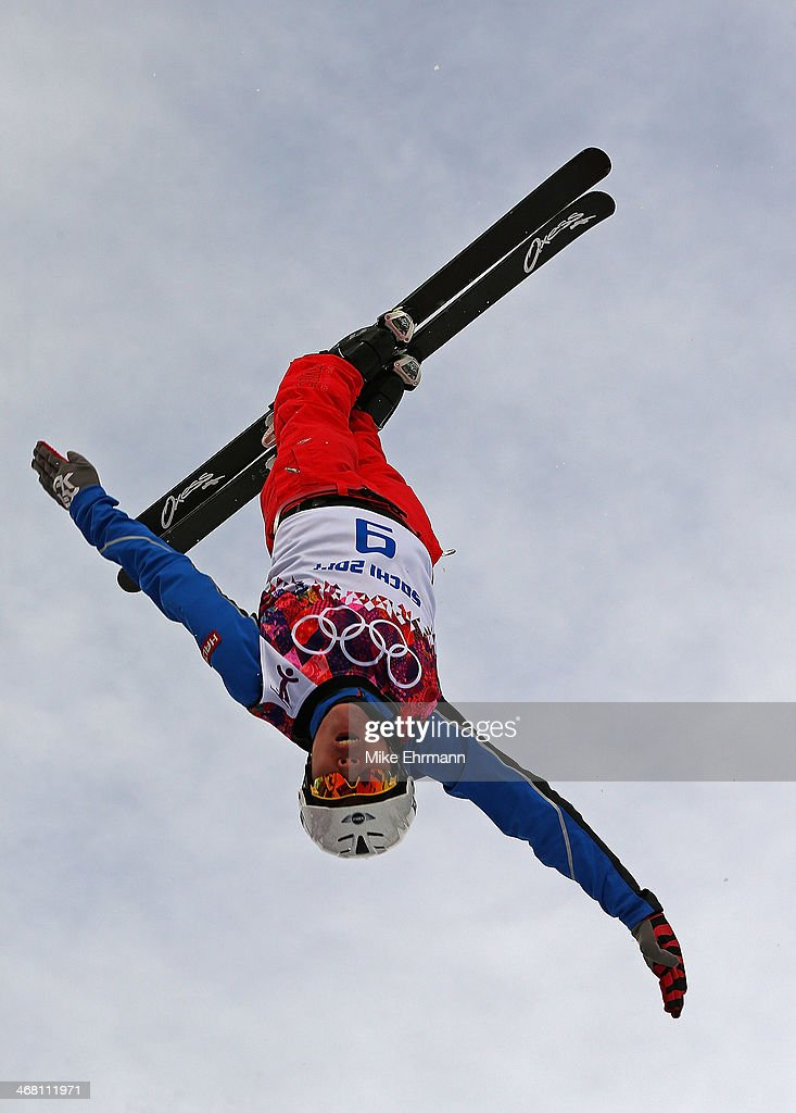 An athlete trains for the Ski Freestyle Aerials competition at the Extreme Park at Rosa Khutor Mountain on February 9 2014 in Sochi Russia