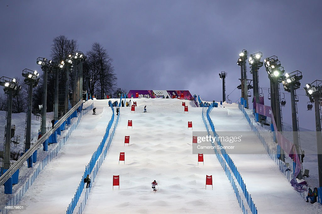 An athlete trains on the moguls course at the Extreme Park at Rosa Khutor Mountain ahead of the Sochi 2014 Winter Olympics on February 2, 2014 in Sochi, Russia
