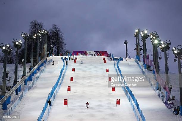 An athlete trains on the moguls course at the Extreme Park at Rosa Khutor Mountain ahead of the Sochi 2014 Winter Olympics on February 2 2014 in...