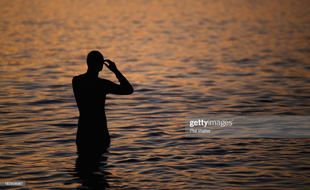 An athlete waits for the start of the New Zealand Ironman on March 2, 2013 in Taupo, New Zealand.