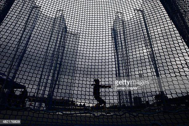 An athlete warms up before the womens hammer throw during the 92nd Australian Athletics Championships at Olympic Park on April 3 2014 in Melbourne...