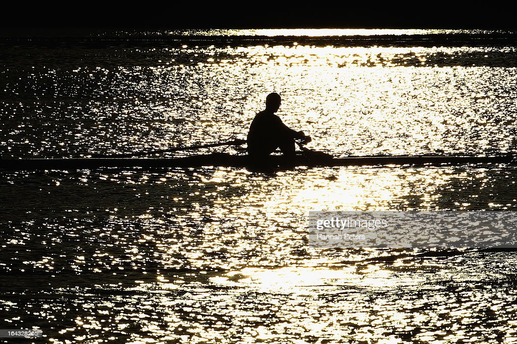 An athlete warms up during day six of the Maadi Cup at Lake Karapiro on March 23, 2013 in Cambridge, New Zealand.