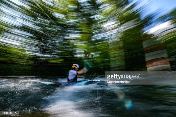 An athlete warms up during the ICF Canoe Slalom World Cup on June 24 2017 in Augsburg Germany
