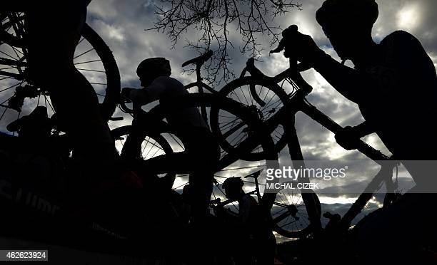 An athletes competes during the Men Elite race at the UCI World cyclocross World championships on February 1 2015 in Tabor Mathieu Van Der Poel of...