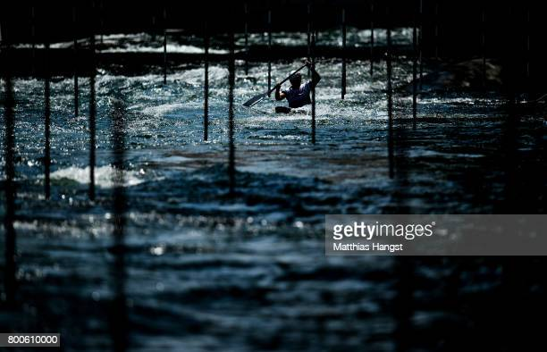 An athletes warms up during the ICF Canoe Slalom World Cup on June 24 2017 in Augsburg Germany