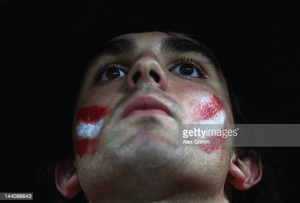 An Athletic Bilbao fan looks on prior to the UEFA Europa League Final between Atletico Madrid and Athletic Bilbao at the National Arena on May 9 2012...