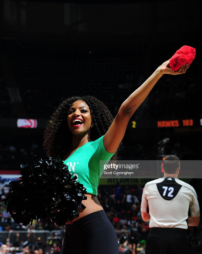 An Atlanta Hawks dancer is seen during the game against the Denver Nuggets on March 17 2016 at Philips Arena in Atlanta Georgia NOTE TO USER User...