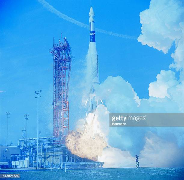 An Atlas Agena rocket roars away from the launch pad March 16th as it is launched into orbit for the Gemini 8 mission Gemini 8 carryng astronauts...