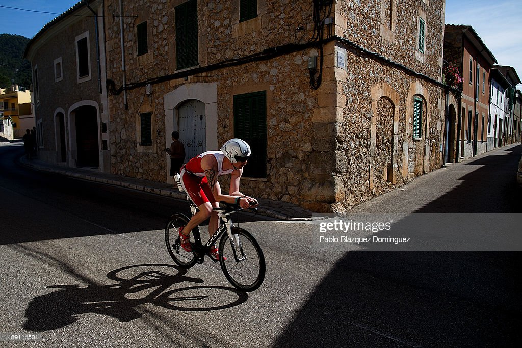 An atlhete during the cycling leg of the Ironman 70.3 Mallorca on May 10, 2014 in Mallorca, Spain.