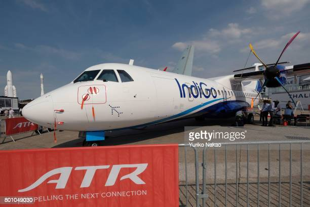An ATR 72600 aircraft of IndiGo an airline based in Delhi is displayed at Le Bourget Airport during the 52nd International Paris Air Show on June 20...