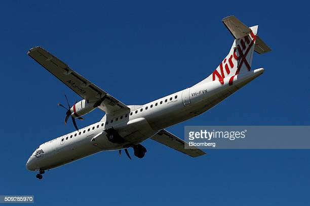 An ATR 72600 aircraft operated by Virgin Australia Holdings Ltd prepares to land at Sydney Airport in Sydney Australia on Monday Feb 8 2016 Virgin...