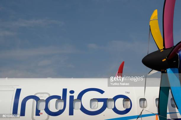 An ATR 72600 aircraft with a logo of IndiGo an airline based in Delhi is displayed at Le Bourget Airport during the 52nd International Paris Air Show...