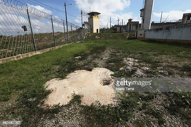 An attempted tunnel escape route is cemented over in the Pedrinhas Prison Complex the largest penitentiary in Maranhao state on January 27 2015 in...