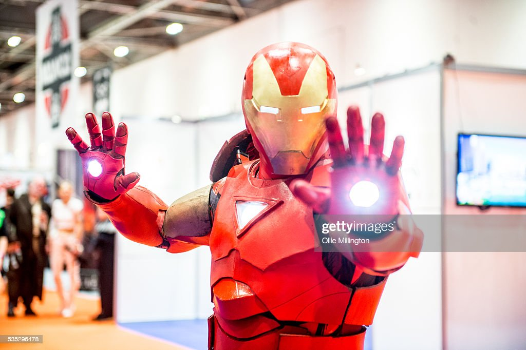 An attendee in costume as IronMan on Day 1 of MCM London Comic Con at The London ExCel on May 27, 2016 in London, England.