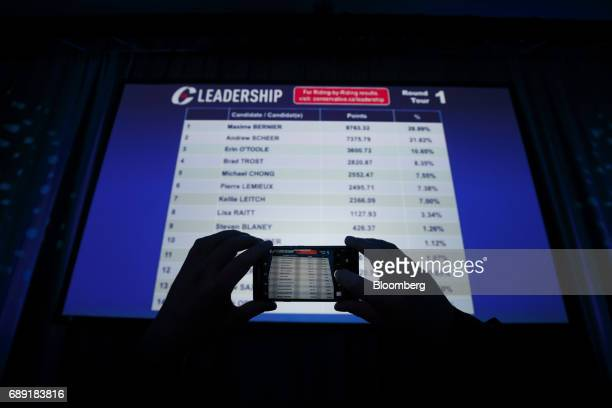 An attendee takes a photograph of a screen showing the results from the first ballot during the Conservative Party Of Canada Leadership Conference in...
