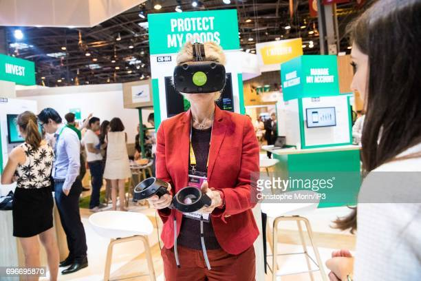 An attendee tests a virtual reality headset during Viva Technology at Parc des Expositions Porte de Versailles on June 16 2017 in Paris France Viva...