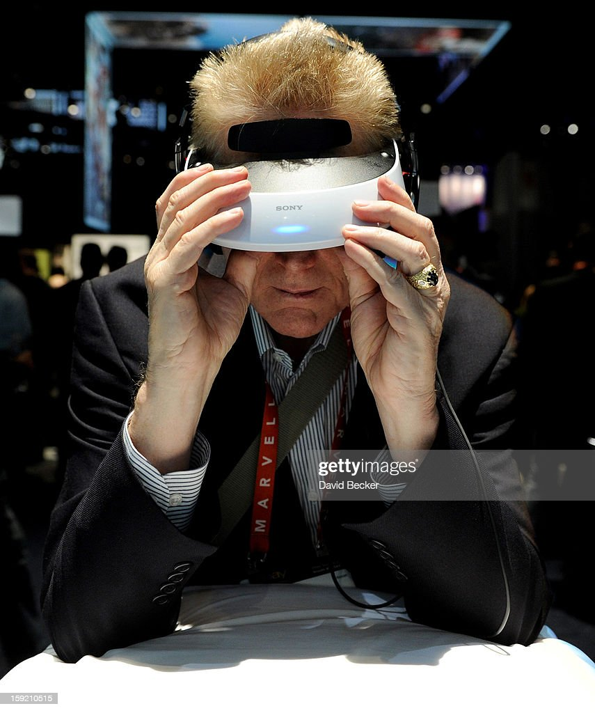 An attendee uses a Sony personal 3D viewer at the 2013 International CES at the Las Vegas Convention Center on January 9, 2013 in Las Vegas, Nevada. Users can use USD 800 entertainment device to play games or view any video material that can be sent through an HDMI connection. CES, the world's largest annual consumer technology trade show, runs through January 11 and is expected to feature 3,100 exhibitors showing off their latest products and services to about 150,000 attendees.