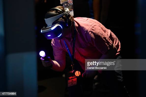 An attendee uses the Sony Project Morpheus VR headset during E3 Electronic Entertainment Expo at Los Angeles Convention Center on June 18 2015 in Los...