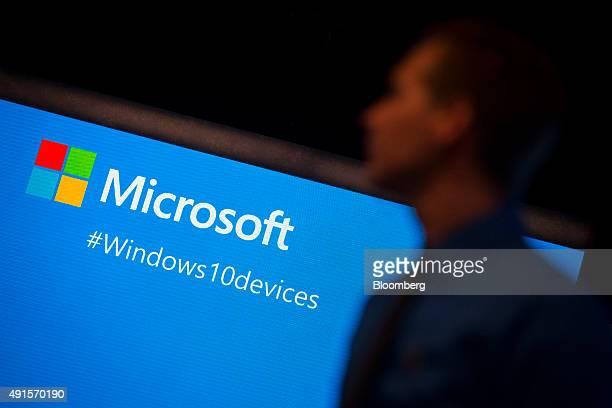 An attendee waits for the start of the Microsoft Corp Windows 10 Devices event in New York US on Tuesday Oct 6 2015 Microsoft Corp introduced its...
