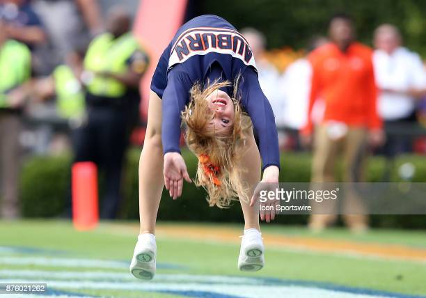 An Auburn cheerleader tumbles after a touchdown during a football game between the Auburn Tigers and the LouisianaMonroe Warhawks Saturday November...