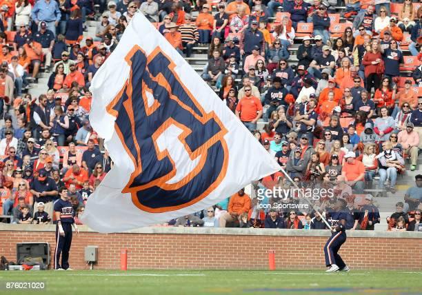 An Auburn cheerleader waves the school flag during a football game between the Auburn Tigers and the LouisianaMonroe Warhawks Saturday November 18...