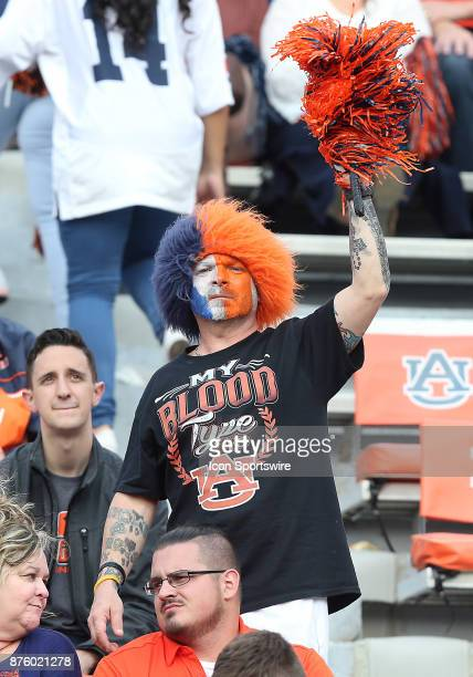 An Auburn fan cheers on his team during a football game between the Auburn Tigers and the LouisianaMonroe Warhawks Saturday November 18 2017 at...