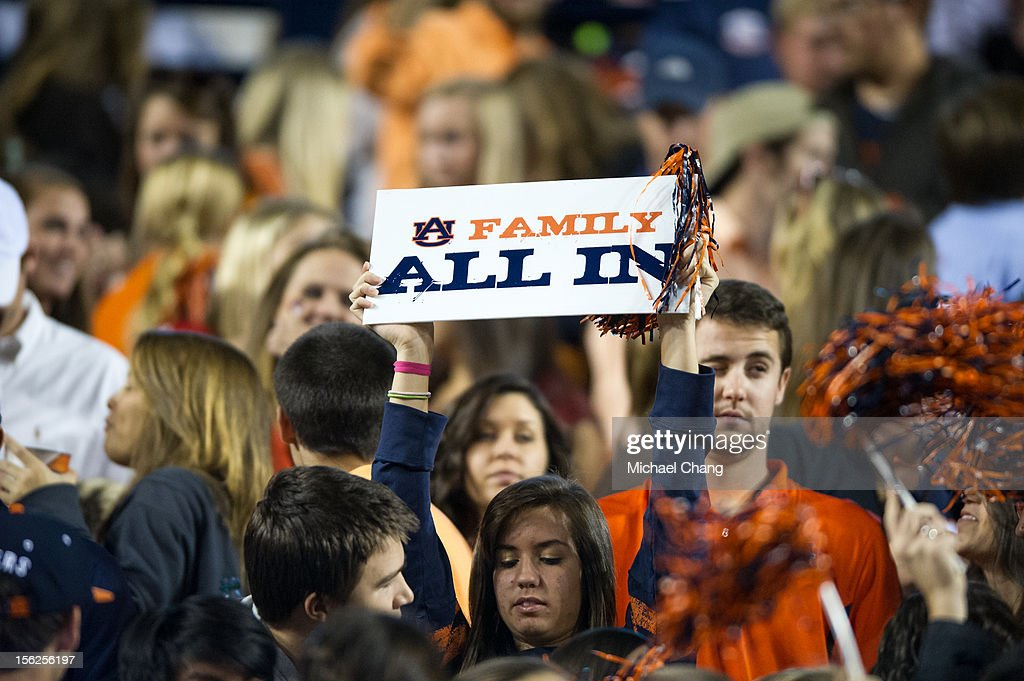 An Auburn fan holds up a sign during their game against the Georgia Bulldogs on November 10, 2012 at Jordan-Hare Stadium in Auburn, Alabama. Georgia defeated Auburn 38-0 and clinched the SEC East division.
