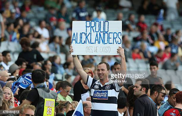 An Auckland supporter shows his colours during the round three Super Rugby match between the Auckland Blues and the Christchurch Crusaders at Eden...