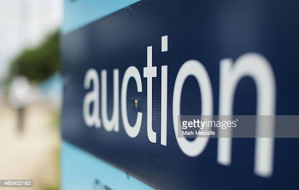 An auction sign stands on display before the home auction for a fourbedroom house at 230 Blacktown Road on February 14 2015 in Blacktown Australia...