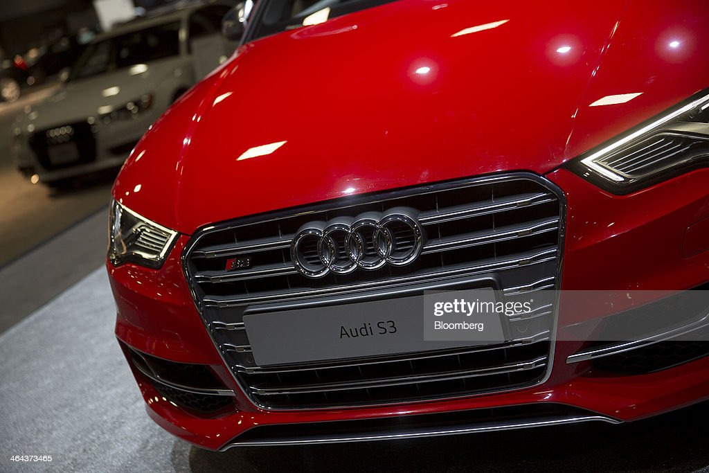 An Audi AG S3 vehicle sits on display during the Washington Auto Show in Washington, D.C., U.S., on Wednesday, Jan. 22, 2014. Audi, Bayerische Motoren Werke AG (BMW) and Mercedes-Benz are targeting at least a fourth consecutive year of record sales in 2014 as new compacts tighten the race among the German rivals for the luxury-car industry's lead. Photographer: Andrew Harrer/Bloomberg via Getty Images