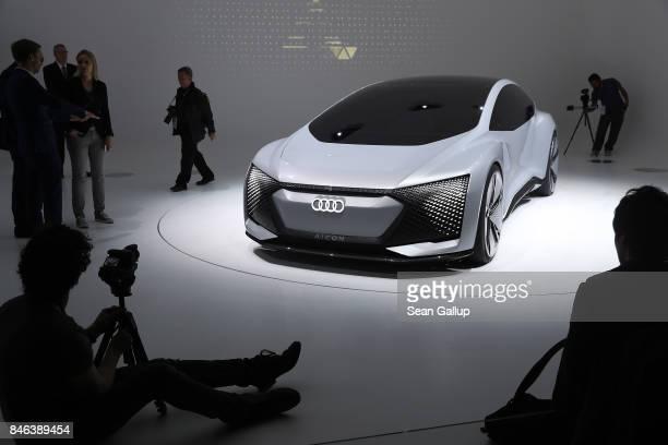 An Audi Aicon autonomous electric concept car stands at the 2017 Frankfurt Auto Show on September 13 2017 in Frankfurt am Main Germany The Frankfurt...