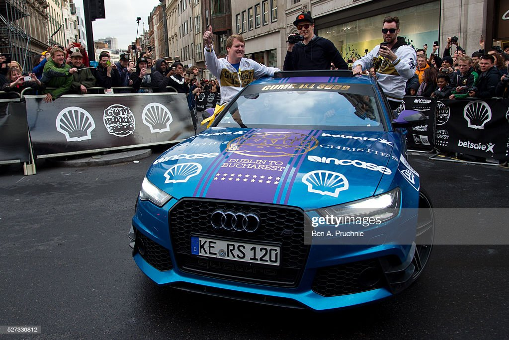 An Audi crosses the finish line as the Gumball Rally closes down Regent Street at Regent Street on May 3, 2016 in London, England.