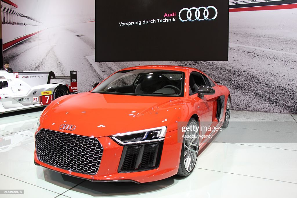 An Audi R8 is on display during the Canada Auto Show at Toronto Metro Convention Center in Toronto, Canada on February 11, 2016.