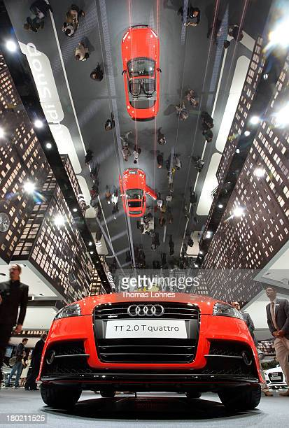 An Audi TTs 20 T quattro reflect in the mirror unter the ceiling at the IAA international automobile show on September 10 2013 in Frankfurt Germany...
