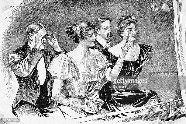 An audience at the opera Drawing 1899