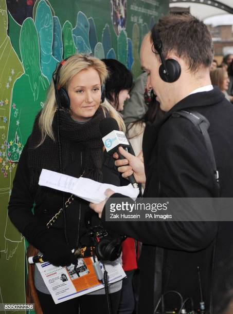 An audience member for Friday Night with Jonathan Ross is interviewed in the queue by BBC Radio 5 Live outside the BBC Television Centre Wood Lane...