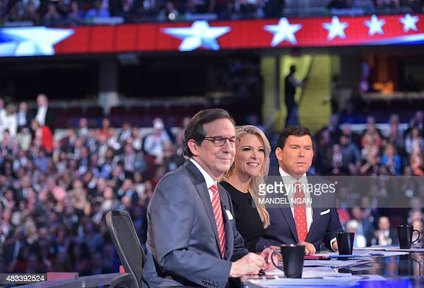 An August 6 2015 photo shows prime time Republican presidential primary debate moderator Megyn Kelly flanked by fellow moderators Chris Wallace and...