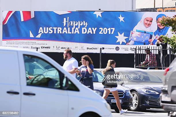 An Australia Day Advertisement Featuring Girls In Hijabs is reinstated on Swan Street on January 21 2017 in Melbourne Australia The original...