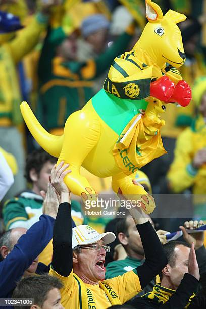 An Australia fan enjoys the atmosphere ahead of the 2010 FIFA World Cup South Africa Group D match between Australia and Serbia at Mbombela Stadium...