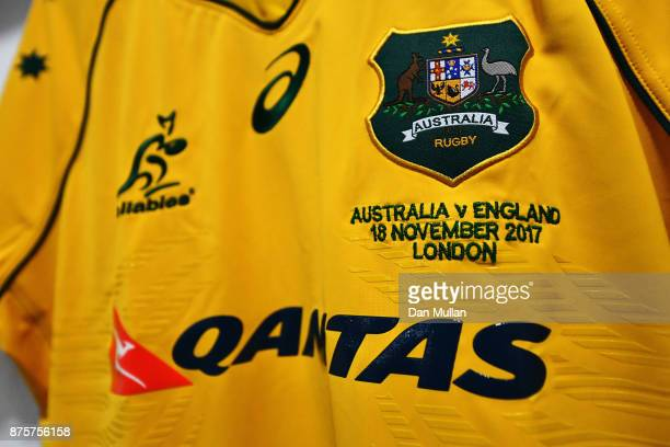 An Australia shirt is seen in the dressing room prior to the Old Mutual Wealth Series match between England and Australia at Twickenham Stadium on...