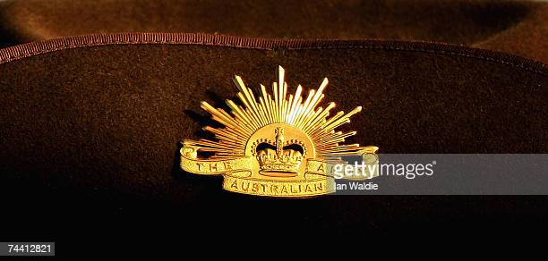 An Australian Army badge is seen on the slouch hat of a serviceman during a repatriation ceremony for Lance Corporal Richard Parker and Private Peter...