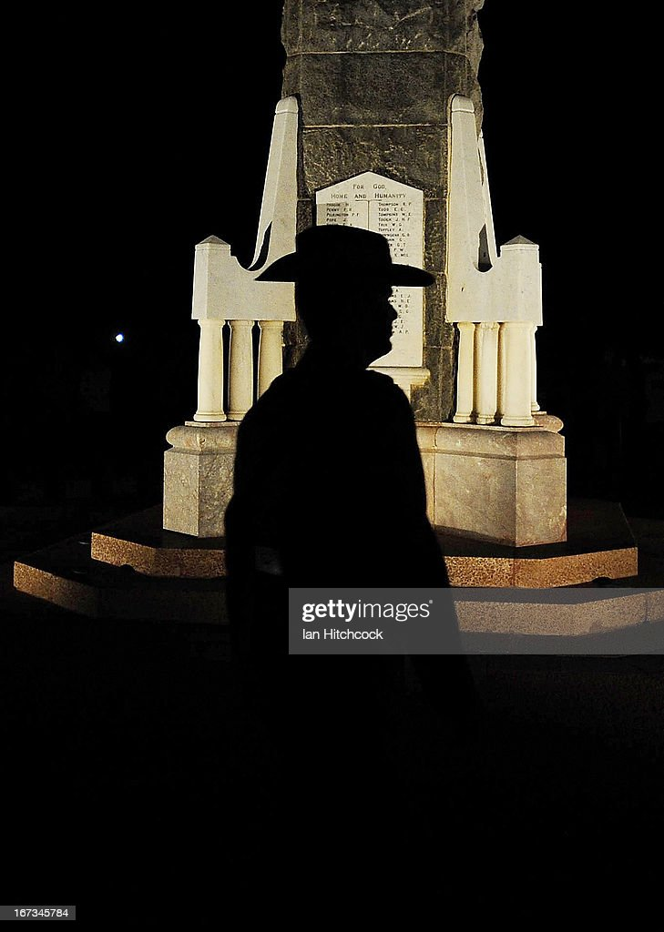 An Australian Army officer walks past the cenotaph before the start of the dawn service on April 25, 2013 in Townsville, Australia. Veterans, dignitaries and members of the public today marked the 98th anniversary of ANZAC (Australia New Zealand Army Corps) Day, April 25, 1915 when allied Australian and New Zealand First World War forces landed on the Gallipoli Peninsula. Commemoration events are held across both countries in remembrance of those who fought and died in all wars.