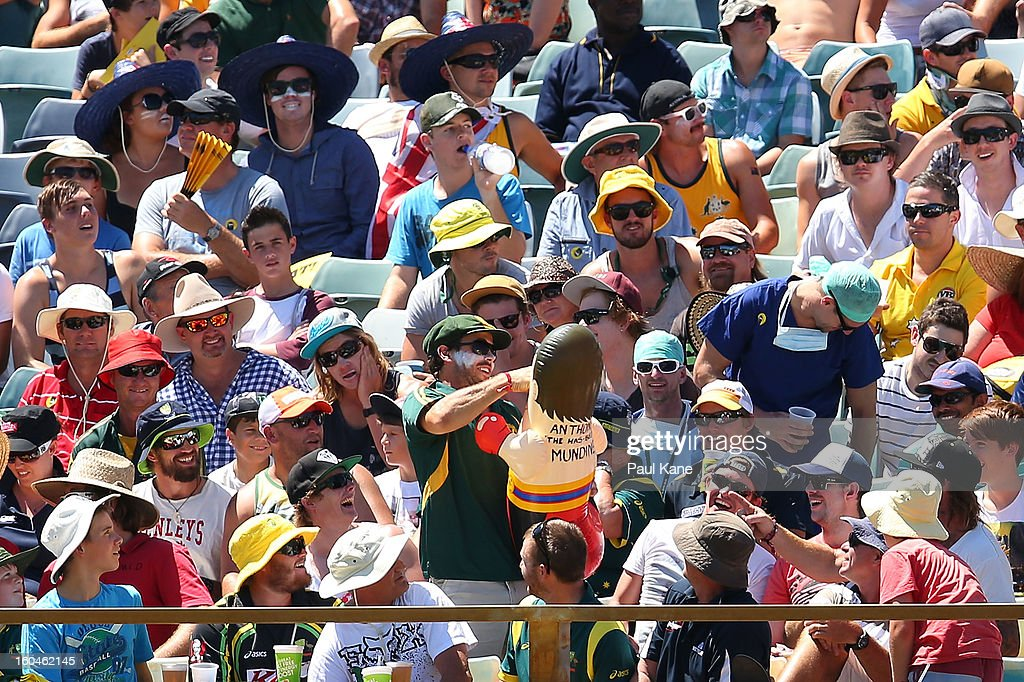 An Australian fan punches a blow up Anthony Mundine toy during game one of the Commonwealth Bank One Day International Series between Australia and the West Indies at WACA on February 1, 2013 in Perth, Australia.